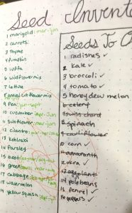 Seed inventory for planting around the homestead to use in your homestead bullet journal