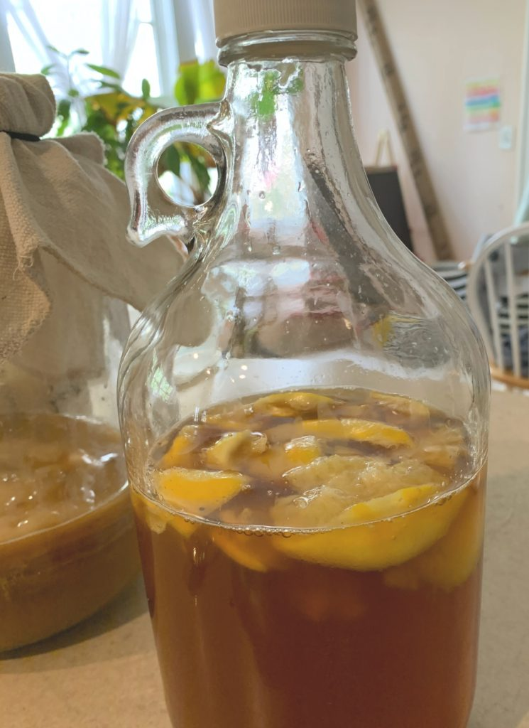 Lemon kombucha is delicious